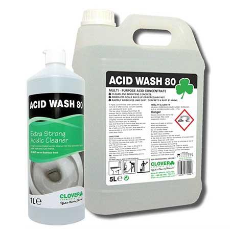 Clover Acid Wash 80 Acidic Cleaner & Descaler 1 Litre & 5 Litre