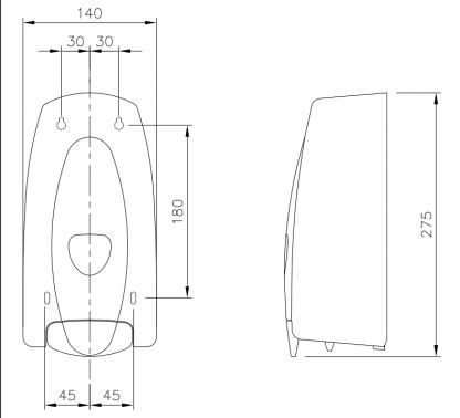 White ABS Plastic Soap Dispenser 1000ml Diagram