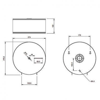 Dolphin Mini Jumbo Toilet Tissue Dispenser Dimensions