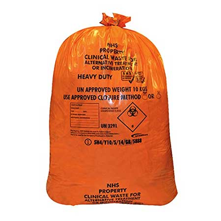 Orange Clinical Waste Bags 250 Pk Top Cleaning Supplies