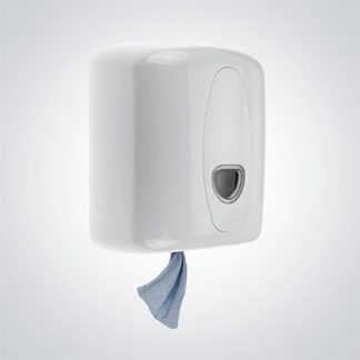 White Plastic Centre Feed Roll Dispenser