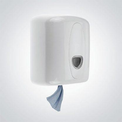 White Plastic Centre Feed Roll Dispenser