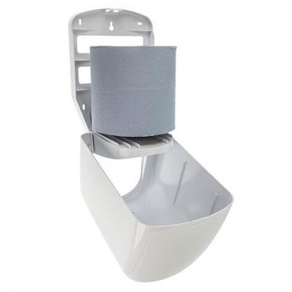 White Plastic Centre Feed Roll Dispenser - Open